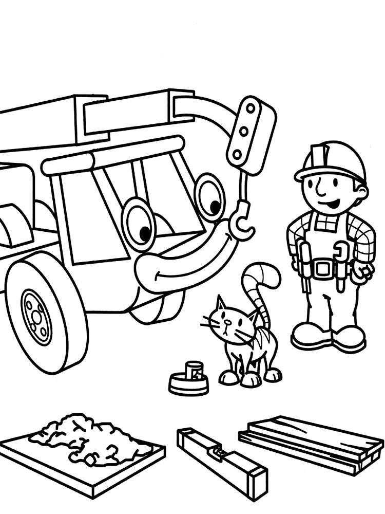 Распечатать раскраски Боб строитель на принтере