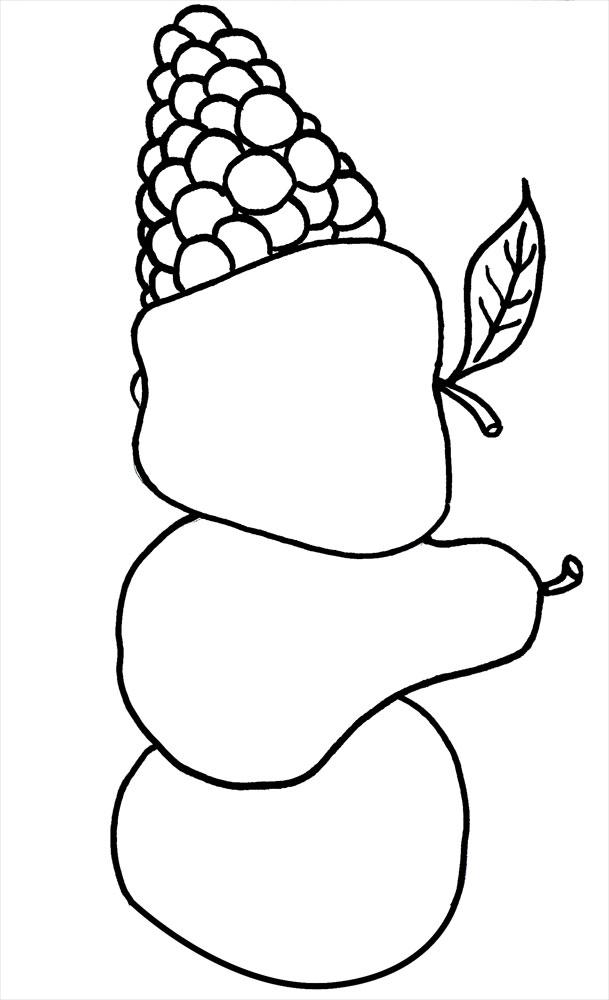 Раскраски фрукты для малышей и детей дошкольного возраста