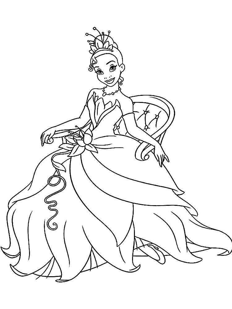 Распечатать раскраски девочек в платьях