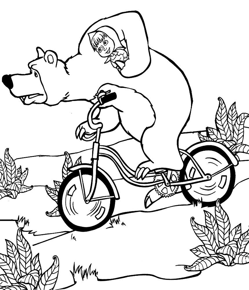 качайте или печатайте прямо на сайте раскраски маша и медведь