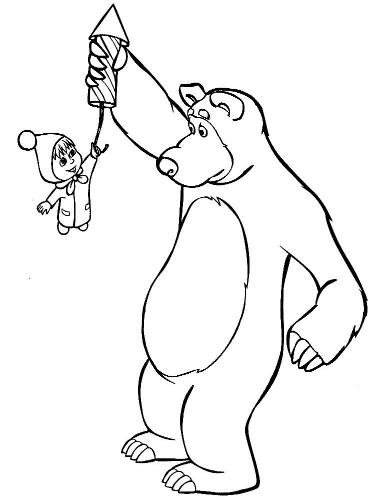 картинки маша и медведь черно-белые