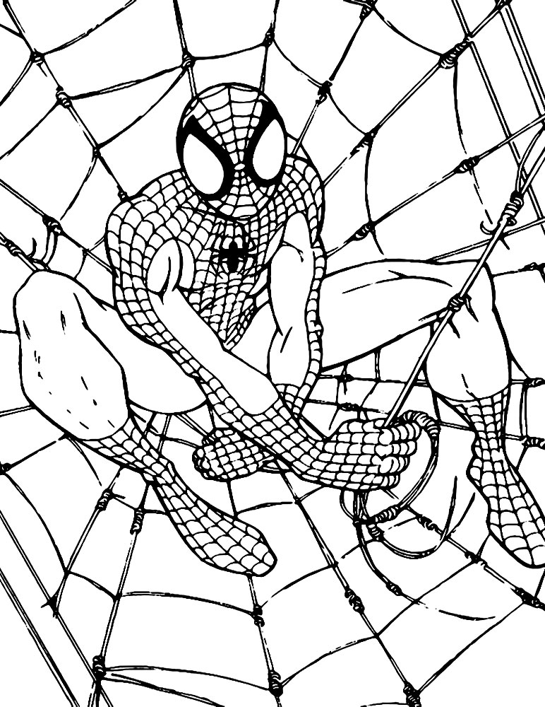 Человек паук раскраски для малышей