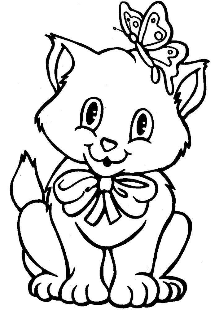 картинка кошка для раскрашивания