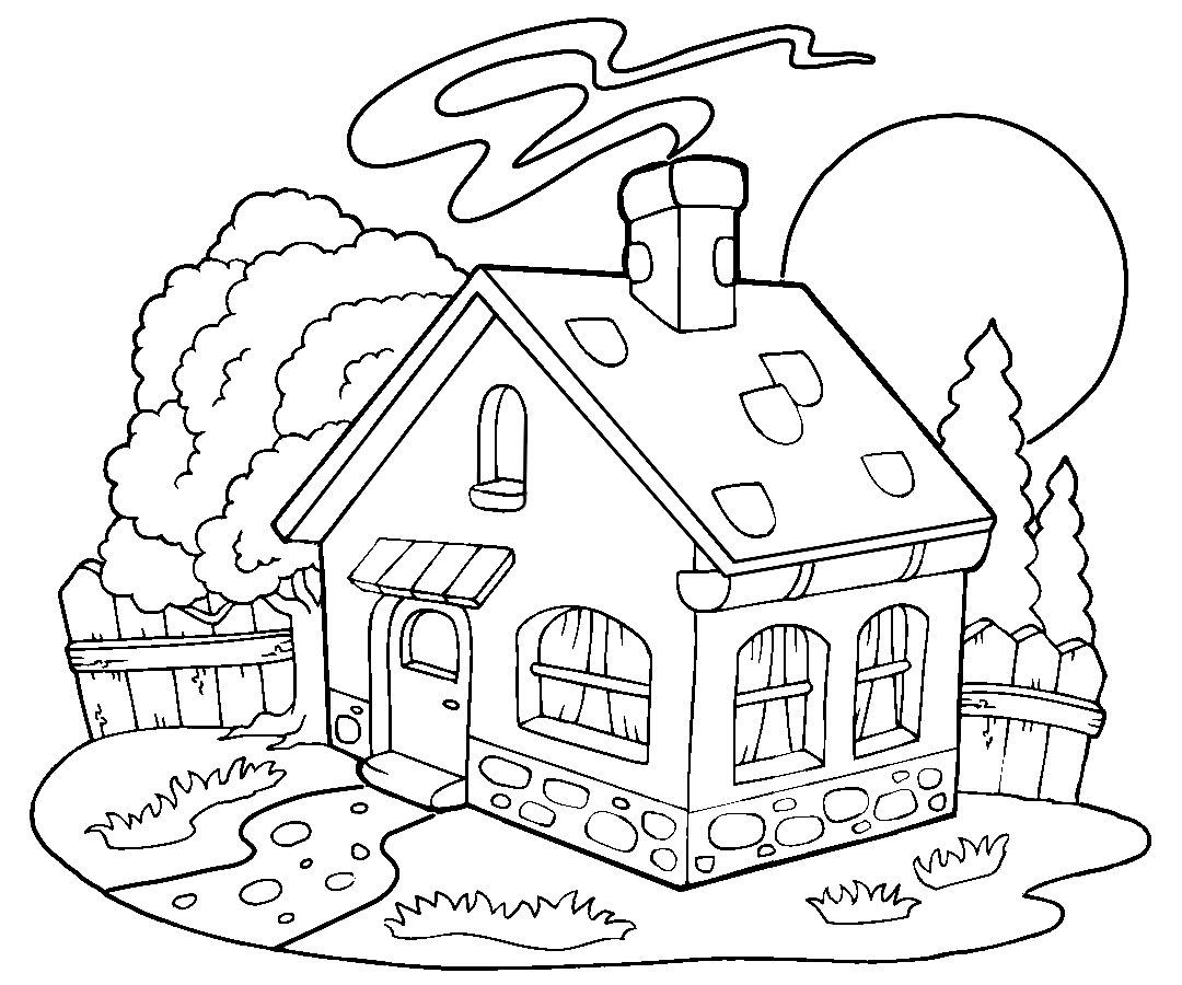 Качайте и распечатывайте раскраски пряничный домик на принтере