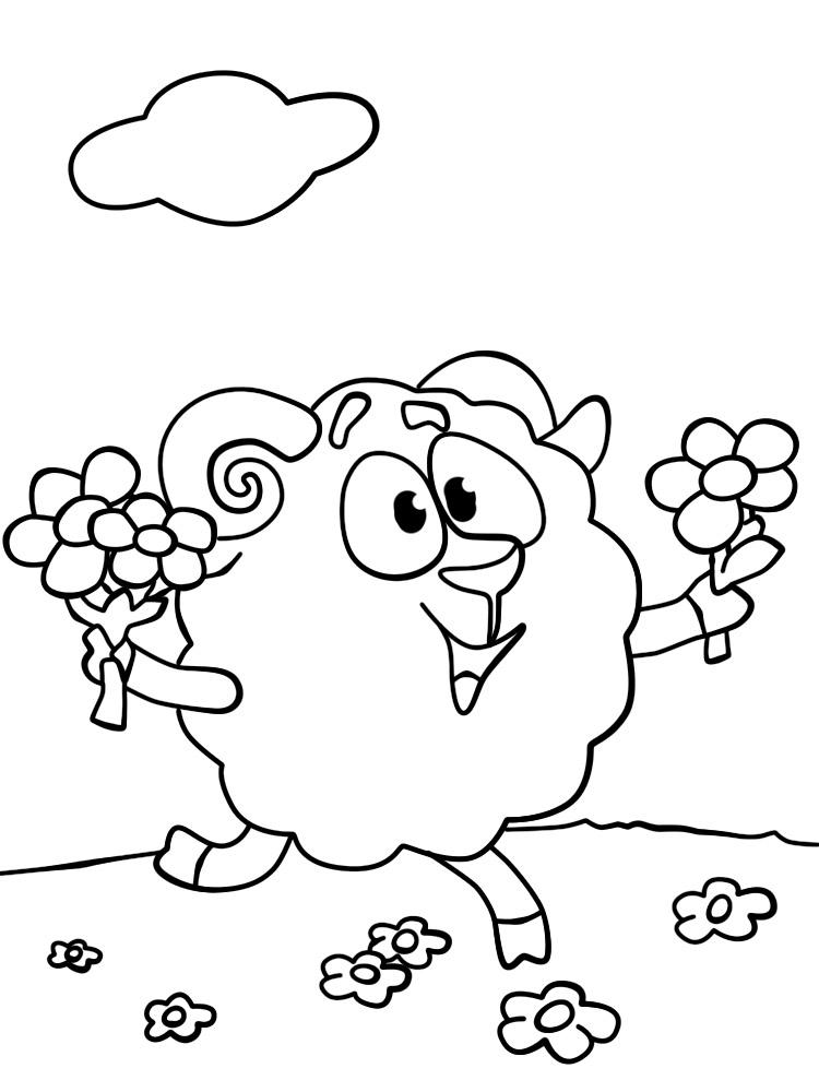 Раскраски и картинки для девочек Бараш из Смешариков