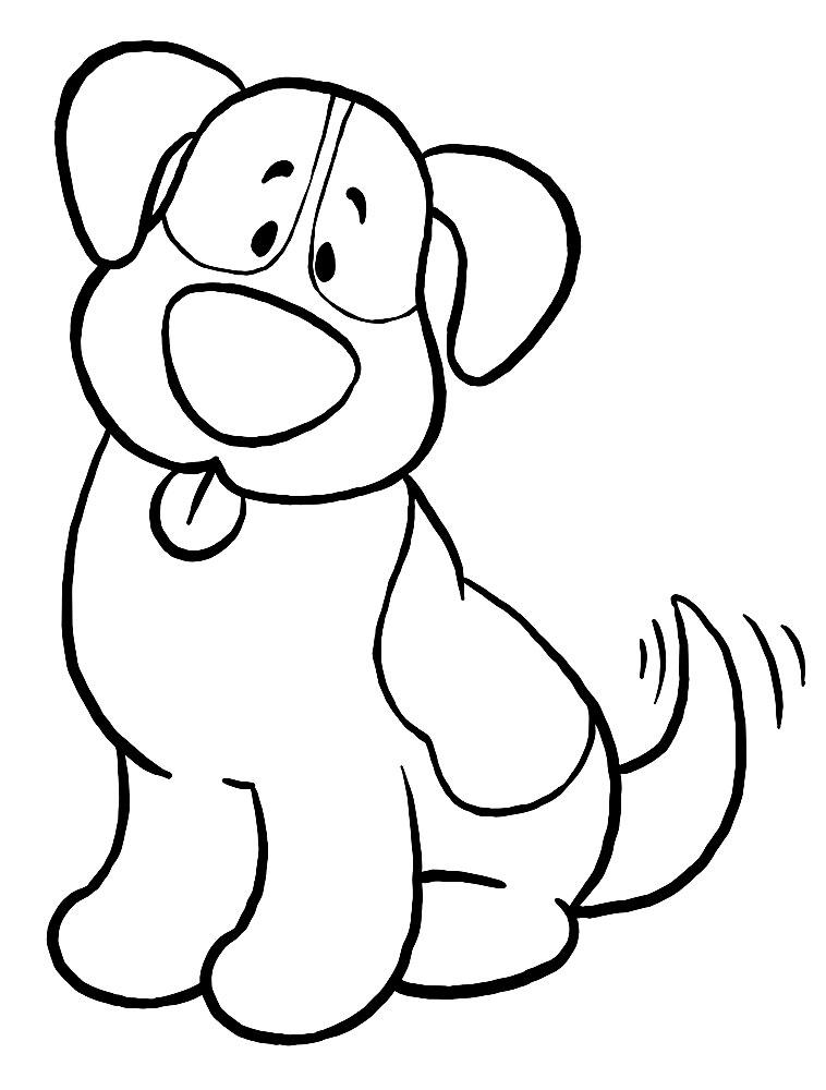 Черно-белые картинки собаки для раскрашивания